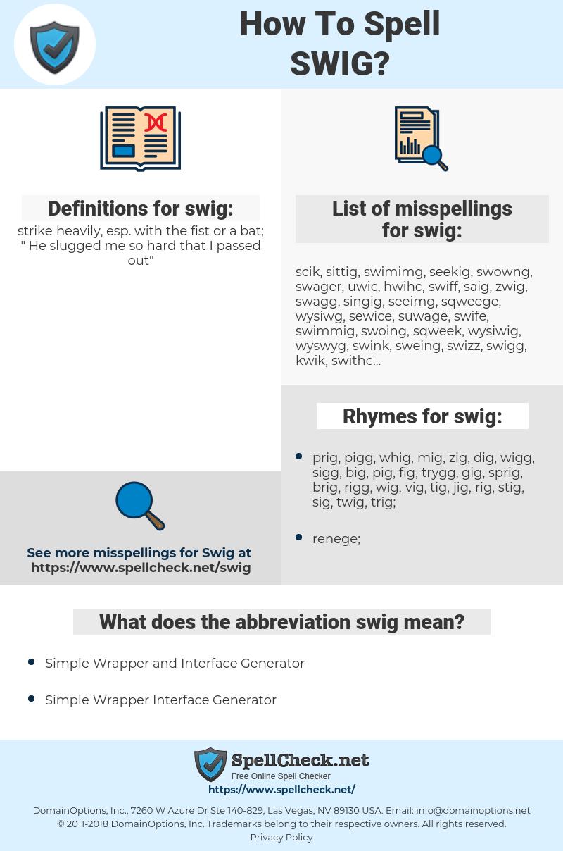 swig, spellcheck swig, how to spell swig, how do you spell swig, correct spelling for swig