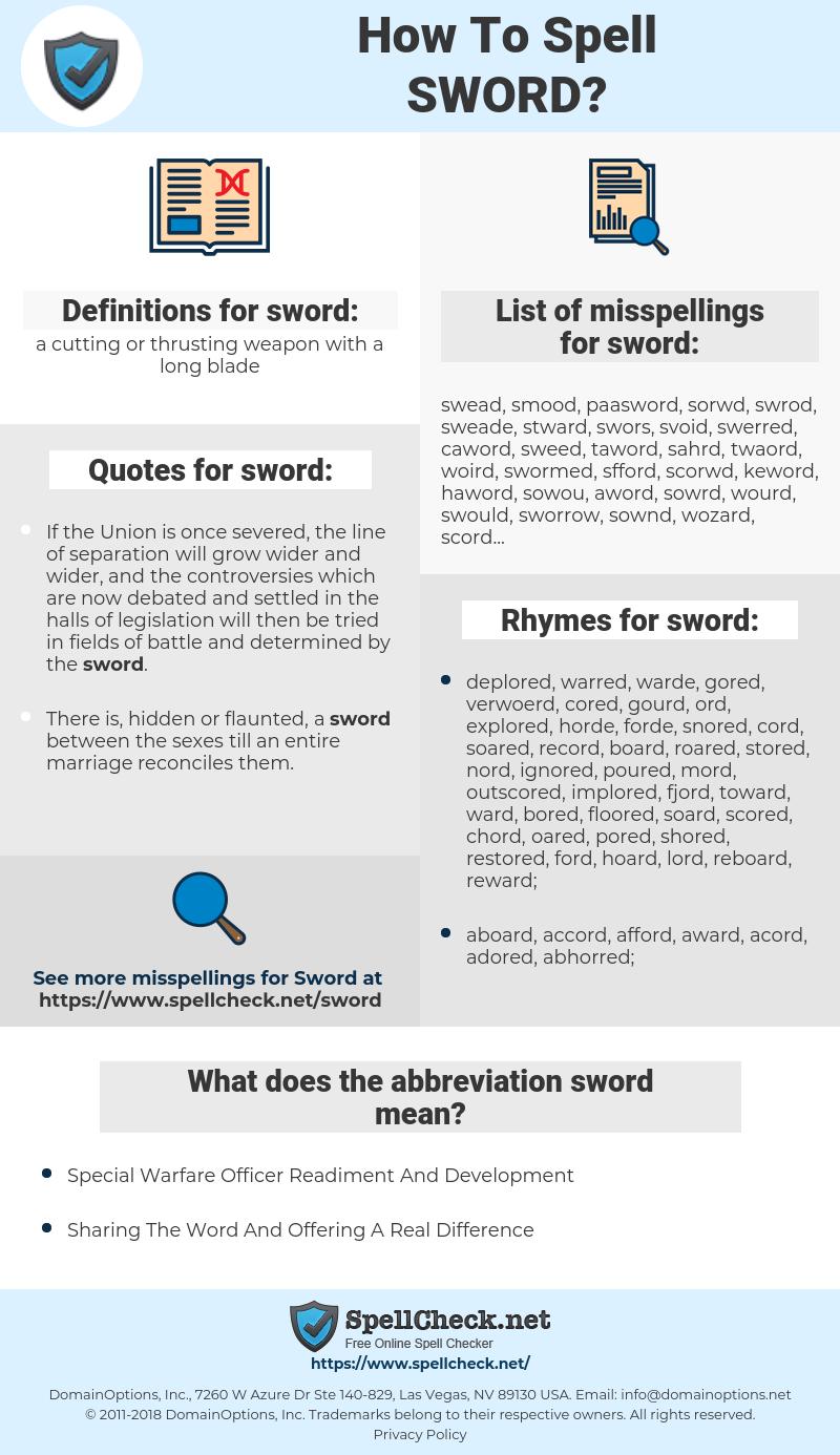 sword, spellcheck sword, how to spell sword, how do you spell sword, correct spelling for sword