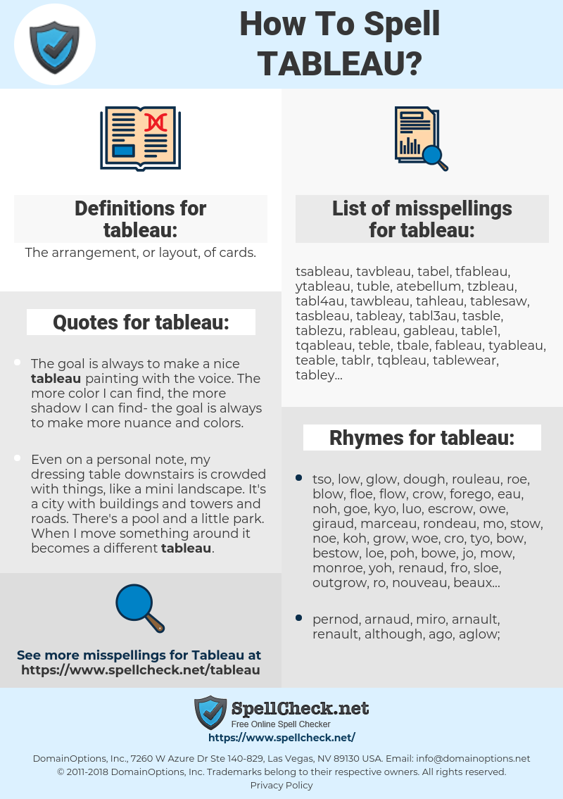 tableau, spellcheck tableau, how to spell tableau, how do you spell tableau, correct spelling for tableau
