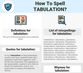 tabulation, spellcheck tabulation, how to spell tabulation, how do you spell tabulation, correct spelling for tabulation