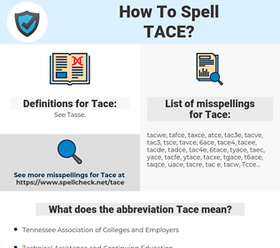 Tace, spellcheck Tace, how to spell Tace, how do you spell Tace, correct spelling for Tace