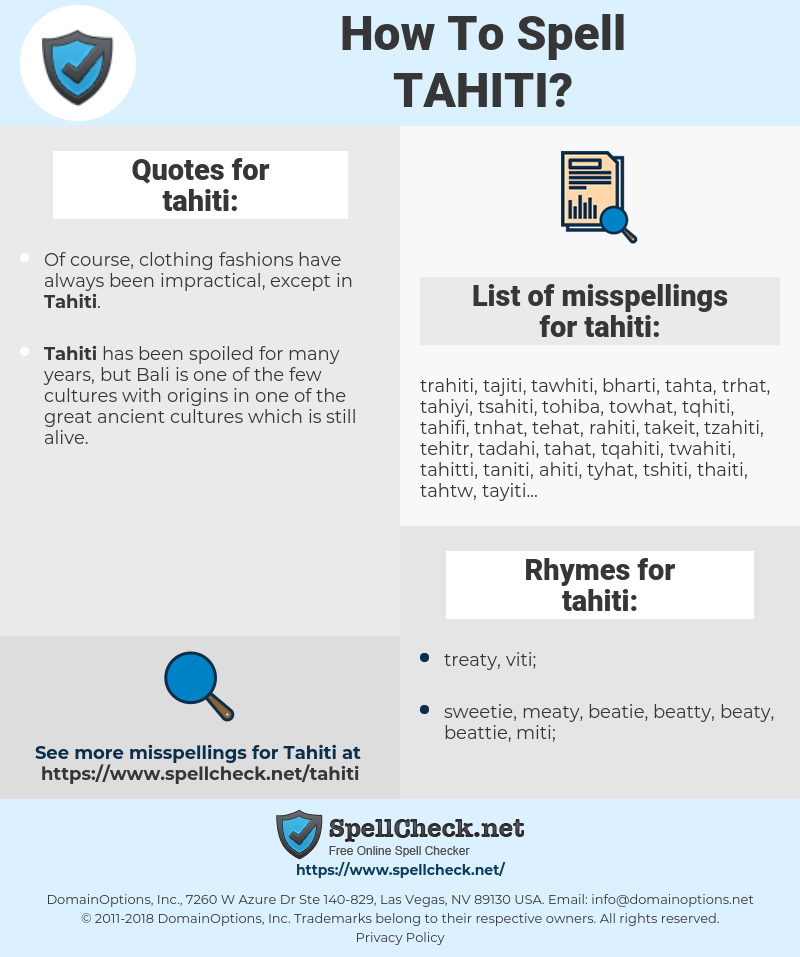 tahiti, spellcheck tahiti, how to spell tahiti, how do you spell tahiti, correct spelling for tahiti