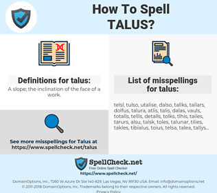 talus, spellcheck talus, how to spell talus, how do you spell talus, correct spelling for talus