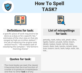 task, spellcheck task, how to spell task, how do you spell task, correct spelling for task