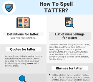 tatter, spellcheck tatter, how to spell tatter, how do you spell tatter, correct spelling for tatter