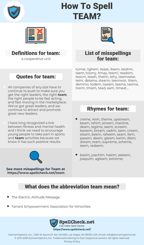team, spellcheck team, how to spell team, how do you spell team, correct spelling for team