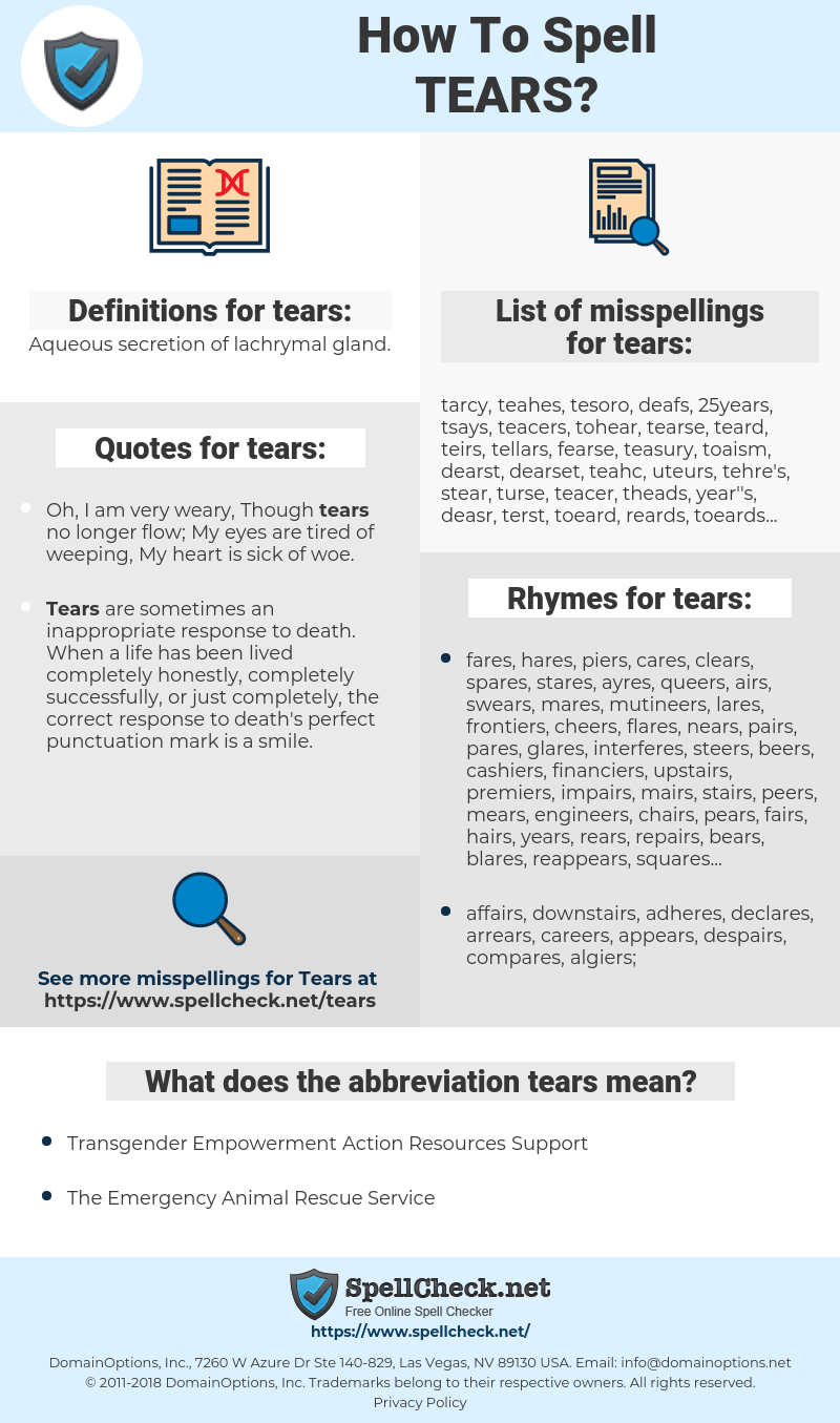 tears, spellcheck tears, how to spell tears, how do you spell tears, correct spelling for tears