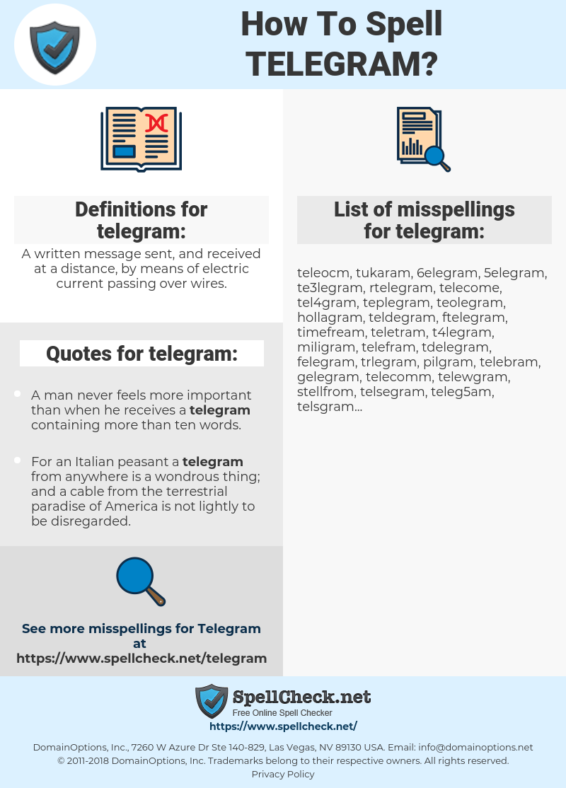 How To Spell Telegram (And How To Misspell It Too) | Spellcheck net