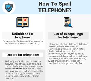 telephone, spellcheck telephone, how to spell telephone, how do you spell telephone, correct spelling for telephone