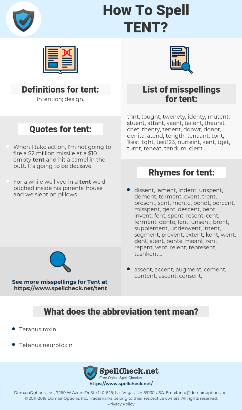 tent, spellcheck tent, how to spell tent, how do you spell tent, correct spelling for tent