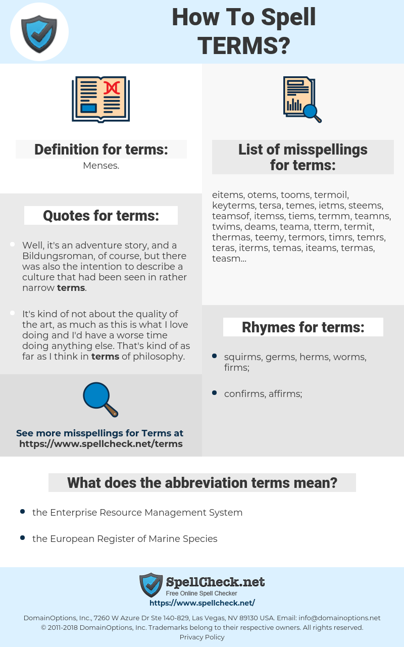 terms, spellcheck terms, how to spell terms, how do you spell terms, correct spelling for terms