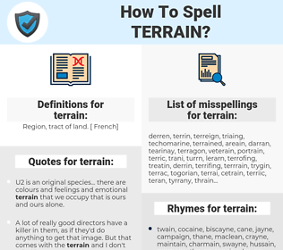 terrain, spellcheck terrain, how to spell terrain, how do you spell terrain, correct spelling for terrain