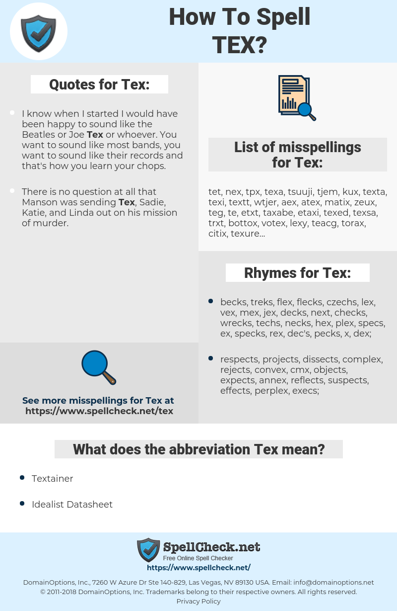 Tex, spellcheck Tex, how to spell Tex, how do you spell Tex, correct spelling for Tex