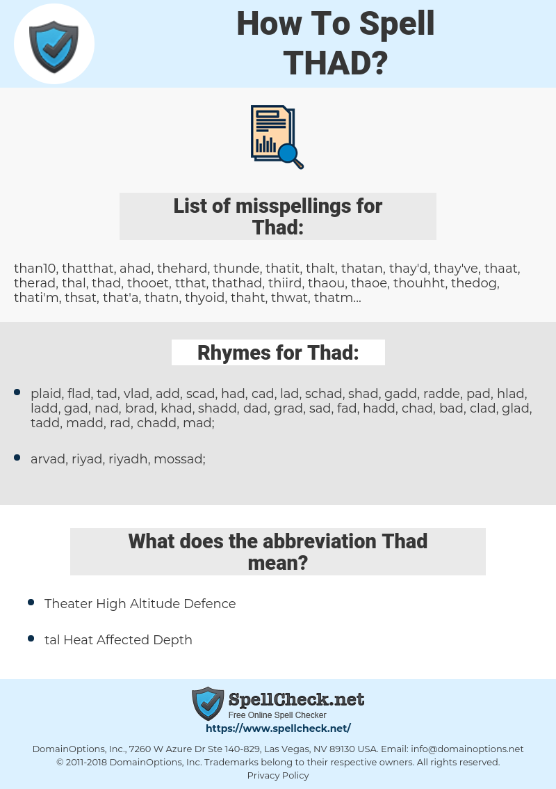 Thad, spellcheck Thad, how to spell Thad, how do you spell Thad, correct spelling for Thad