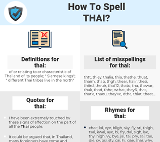thai, spellcheck thai, how to spell thai, how do you spell thai, correct spelling for thai
