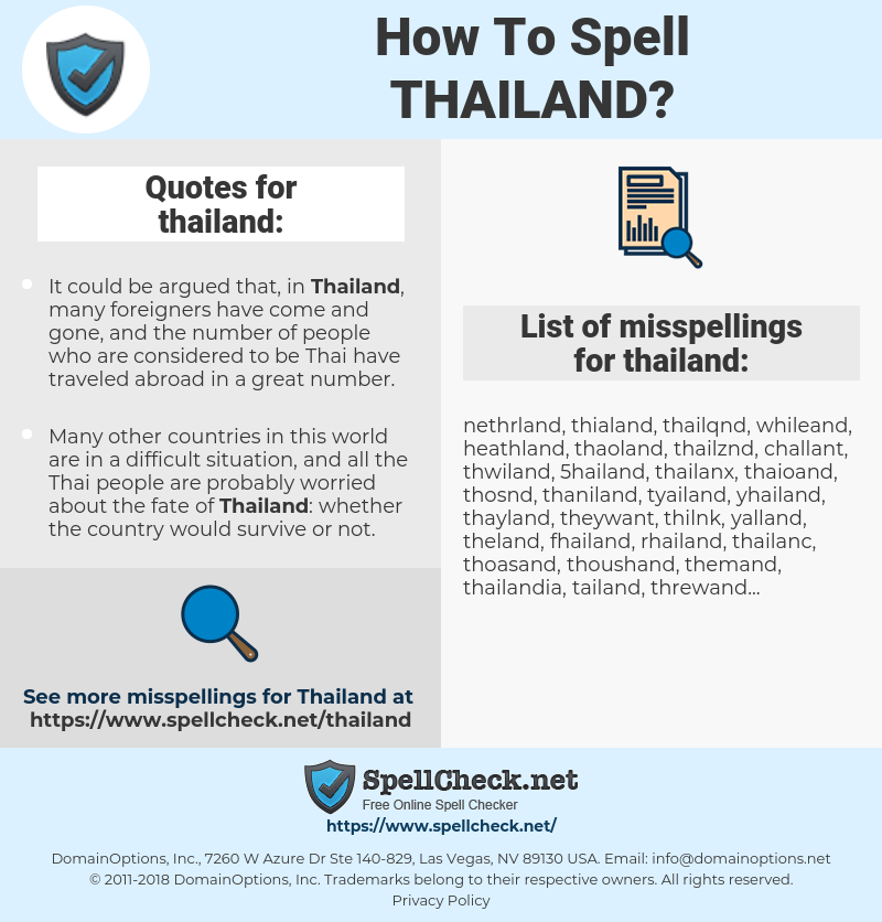 thailand, spellcheck thailand, how to spell thailand, how do you spell thailand, correct spelling for thailand