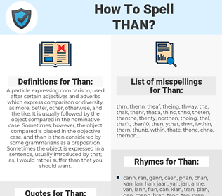 Than, spellcheck Than, how to spell Than, how do you spell Than, correct spelling for Than