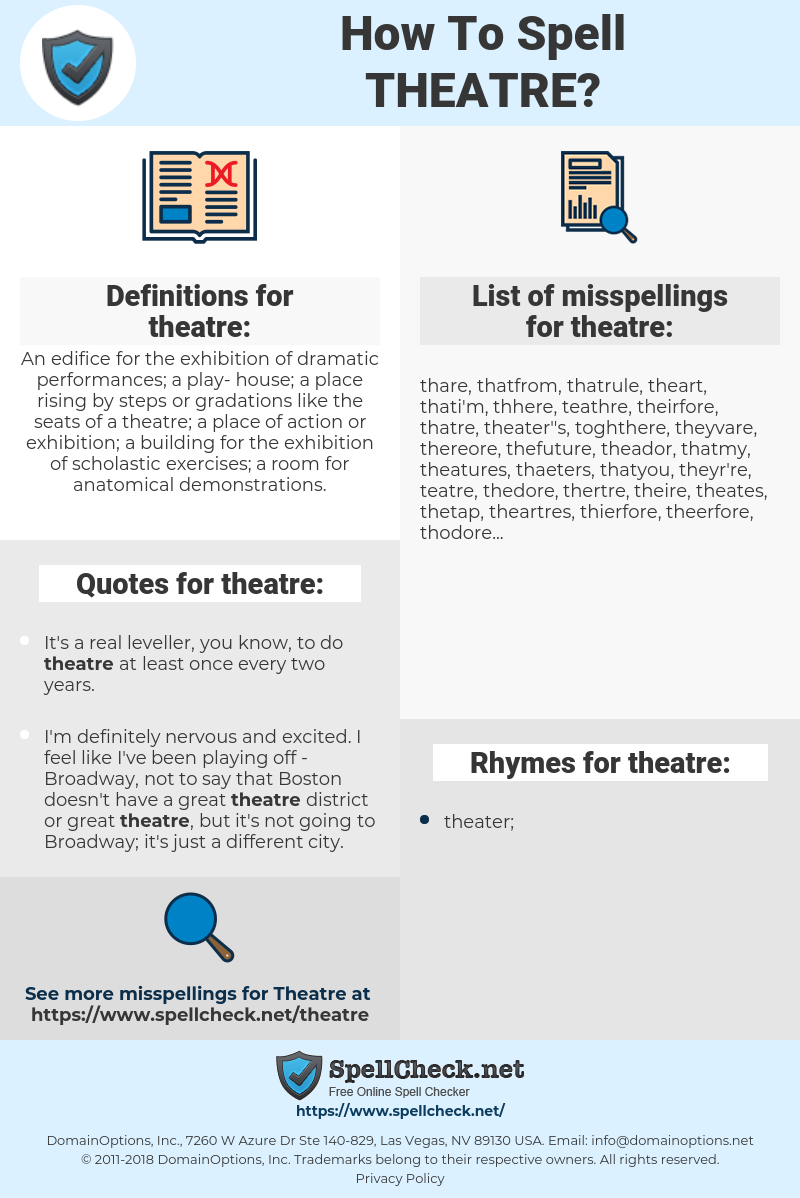 theatre, spellcheck theatre, how to spell theatre, how do you spell theatre, correct spelling for theatre