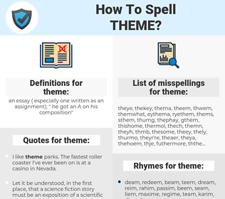 theme, spellcheck theme, how to spell theme, how do you spell theme, correct spelling for theme