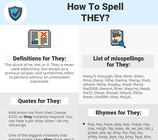 They, spellcheck They, how to spell They, how do you spell They, correct spelling for They