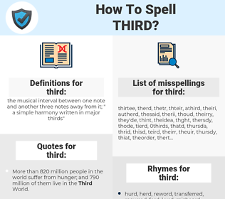 third, spellcheck third, how to spell third, how do you spell third, correct spelling for third