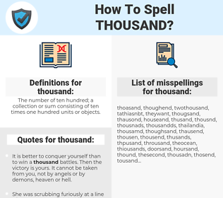 thousand, spellcheck thousand, how to spell thousand, how do you spell thousand, correct spelling for thousand