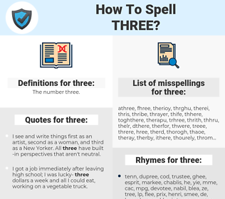 three, spellcheck three, how to spell three, how do you spell three, correct spelling for three