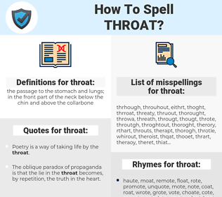 throat, spellcheck throat, how to spell throat, how do you spell throat, correct spelling for throat