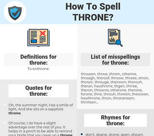 throne, spellcheck throne, how to spell throne, how do you spell throne, correct spelling for throne