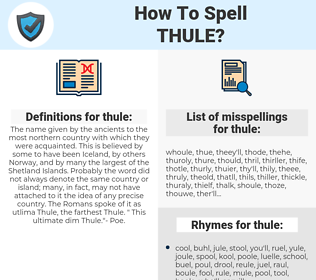 thule, spellcheck thule, how to spell thule, how do you spell thule, correct spelling for thule