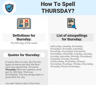 thursday, spellcheck thursday, how to spell thursday, how do you spell thursday, correct spelling for thursday