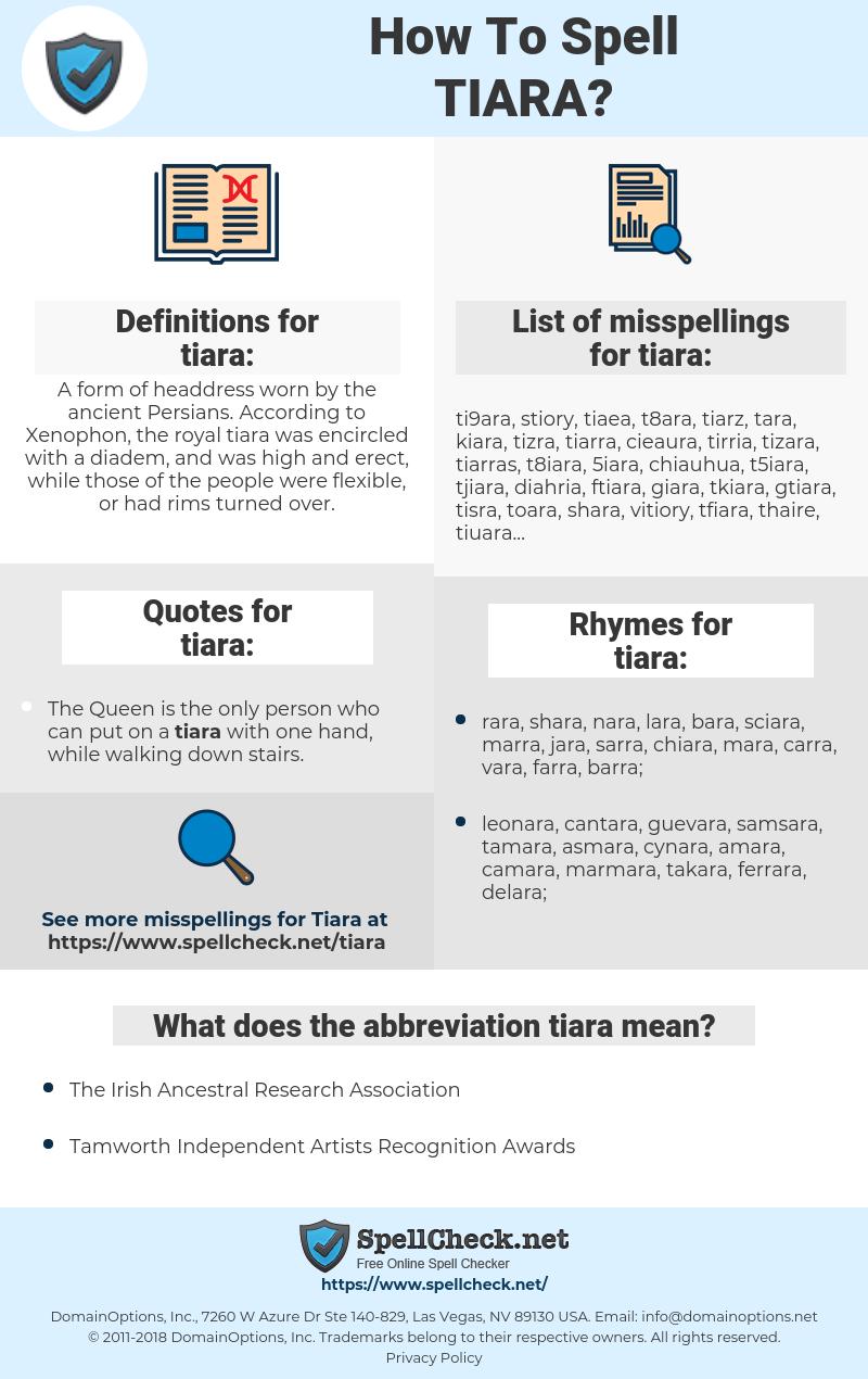 tiara, spellcheck tiara, how to spell tiara, how do you spell tiara, correct spelling for tiara