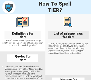 tier, spellcheck tier, how to spell tier, how do you spell tier, correct spelling for tier