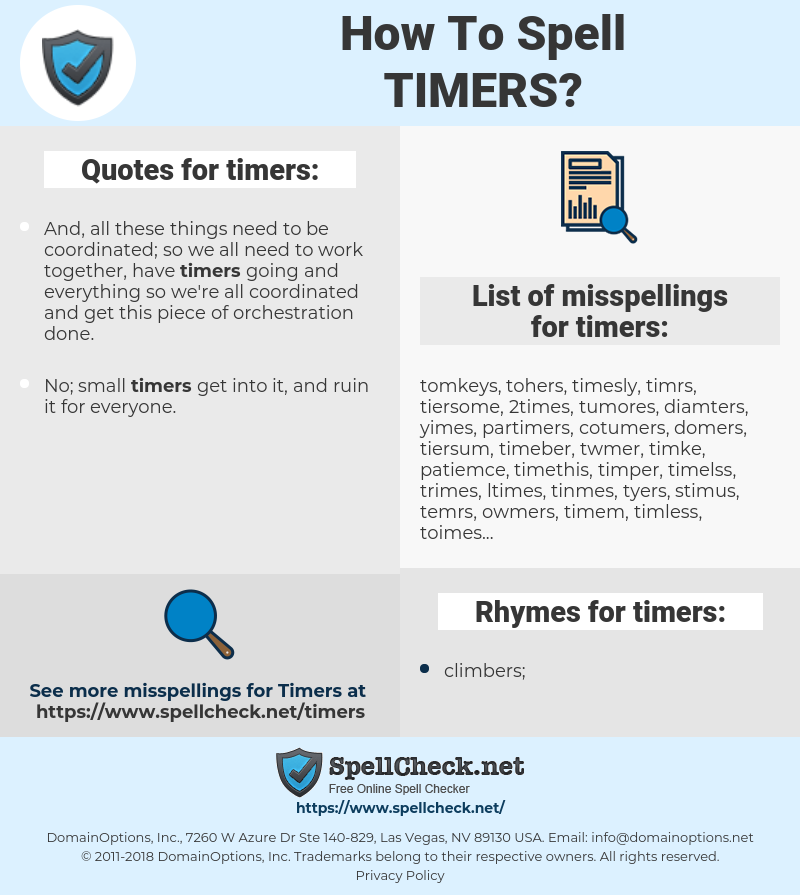 timers, spellcheck timers, how to spell timers, how do you spell timers, correct spelling for timers