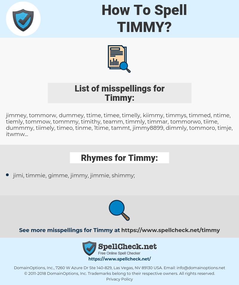 Timmy, spellcheck Timmy, how to spell Timmy, how do you spell Timmy, correct spelling for Timmy