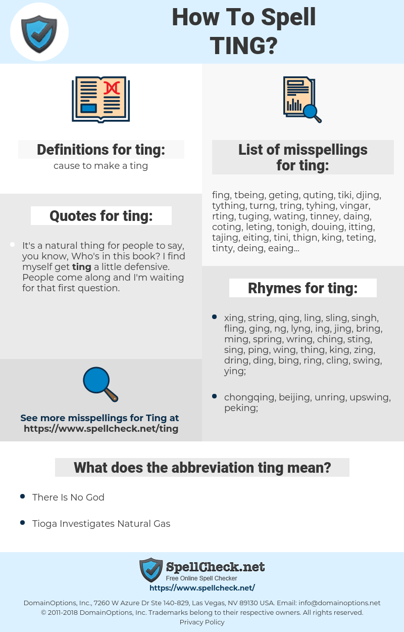 ting, spellcheck ting, how to spell ting, how do you spell ting, correct spelling for ting
