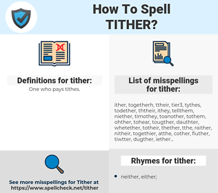 tither, spellcheck tither, how to spell tither, how do you spell tither, correct spelling for tither
