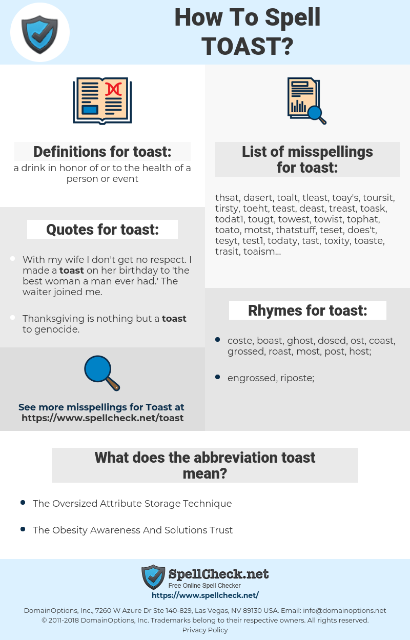 toast, spellcheck toast, how to spell toast, how do you spell toast, correct spelling for toast