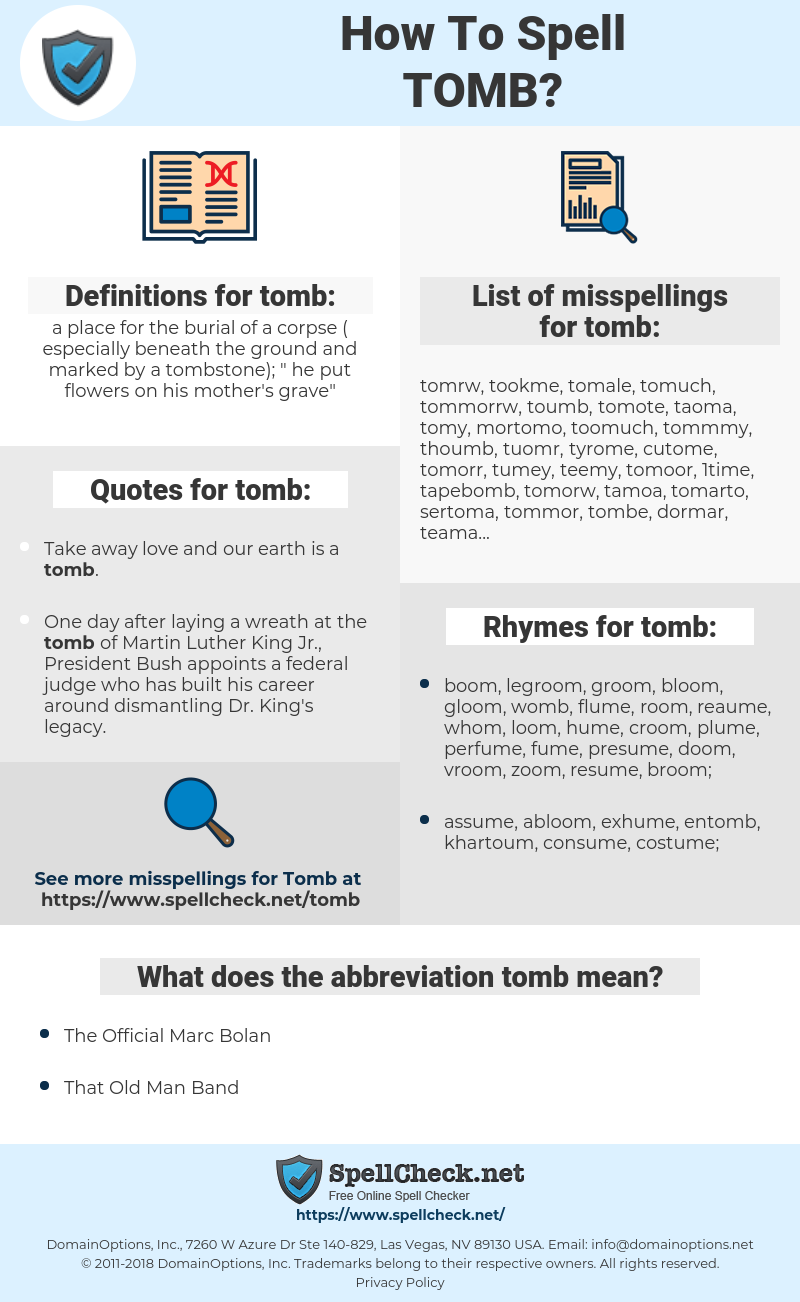 tomb, spellcheck tomb, how to spell tomb, how do you spell tomb, correct spelling for tomb