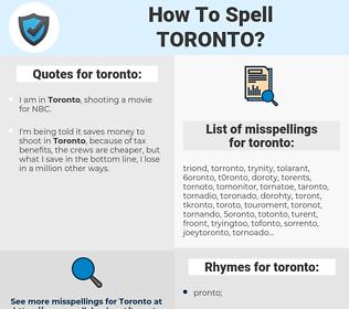 toronto, spellcheck toronto, how to spell toronto, how do you spell toronto, correct spelling for toronto