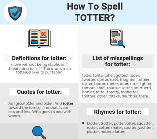 totter, spellcheck totter, how to spell totter, how do you spell totter, correct spelling for totter