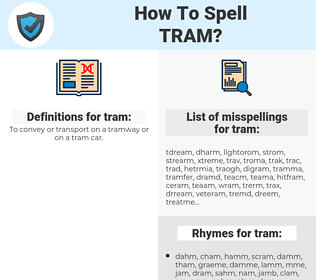 tram, spellcheck tram, how to spell tram, how do you spell tram, correct spelling for tram