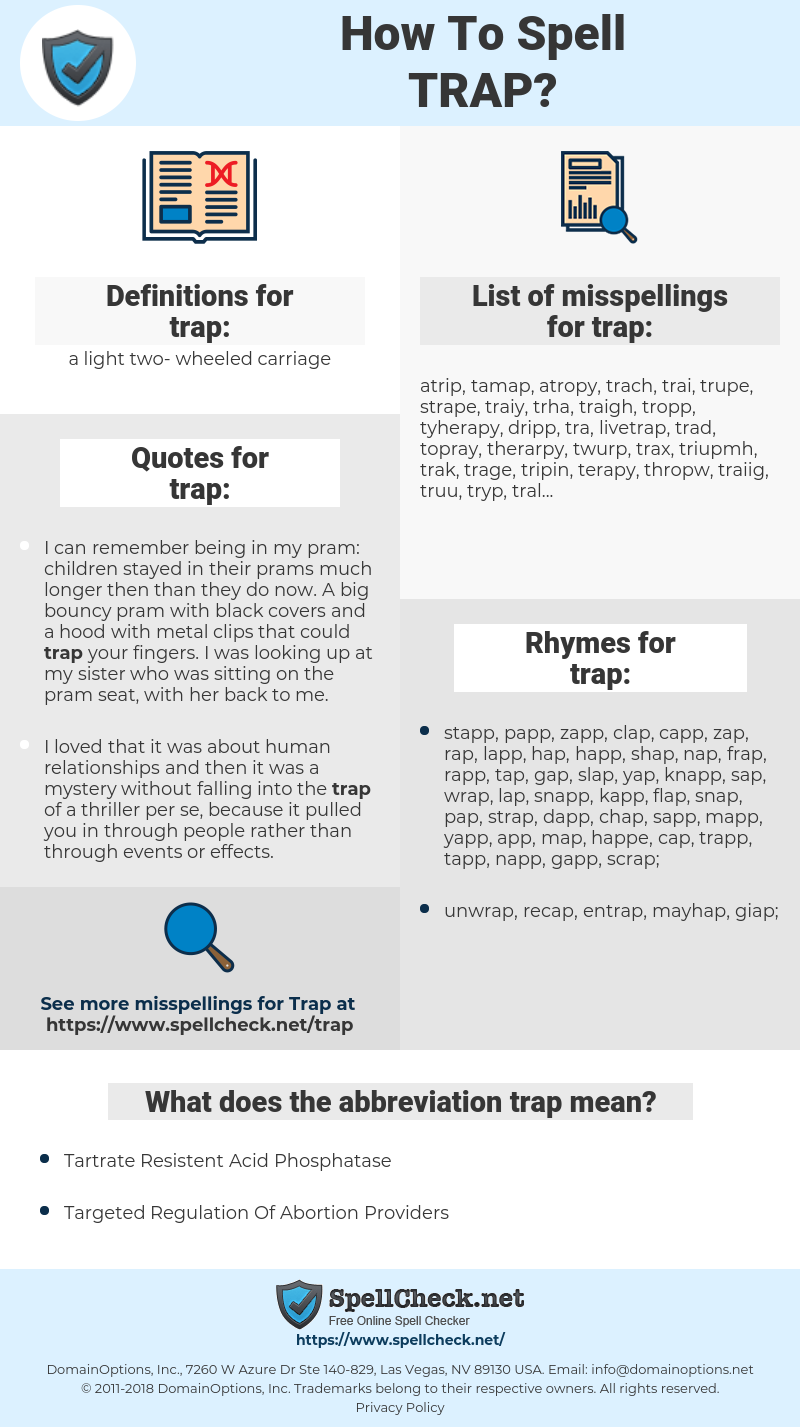 trap, spellcheck trap, how to spell trap, how do you spell trap, correct spelling for trap