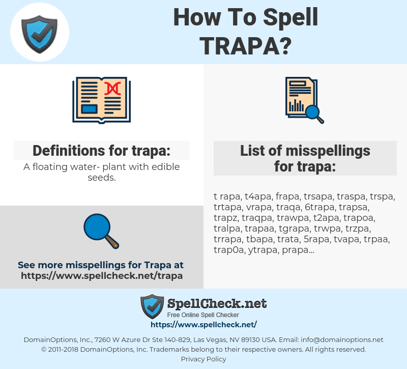 trapa, spellcheck trapa, how to spell trapa, how do you spell trapa, correct spelling for trapa
