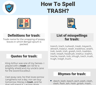 trash, spellcheck trash, how to spell trash, how do you spell trash, correct spelling for trash