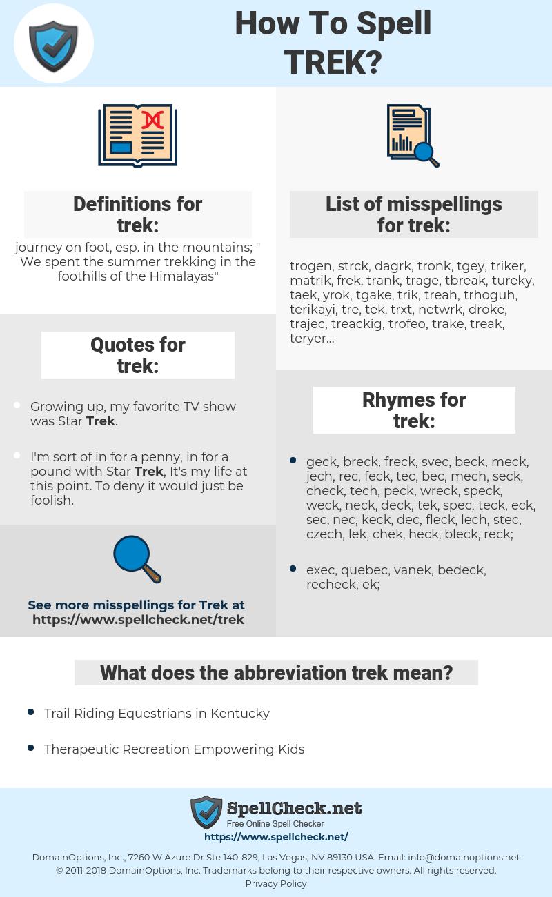 trek, spellcheck trek, how to spell trek, how do you spell trek, correct spelling for trek