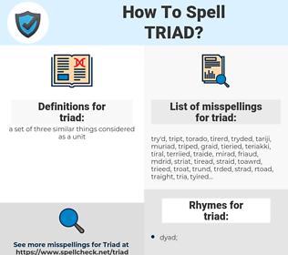 triad, spellcheck triad, how to spell triad, how do you spell triad, correct spelling for triad