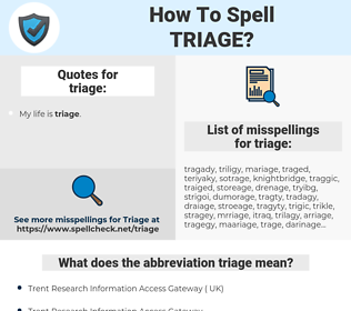 triage, spellcheck triage, how to spell triage, how do you spell triage, correct spelling for triage