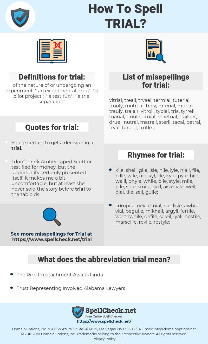 trial, spellcheck trial, how to spell trial, how do you spell trial, correct spelling for trial