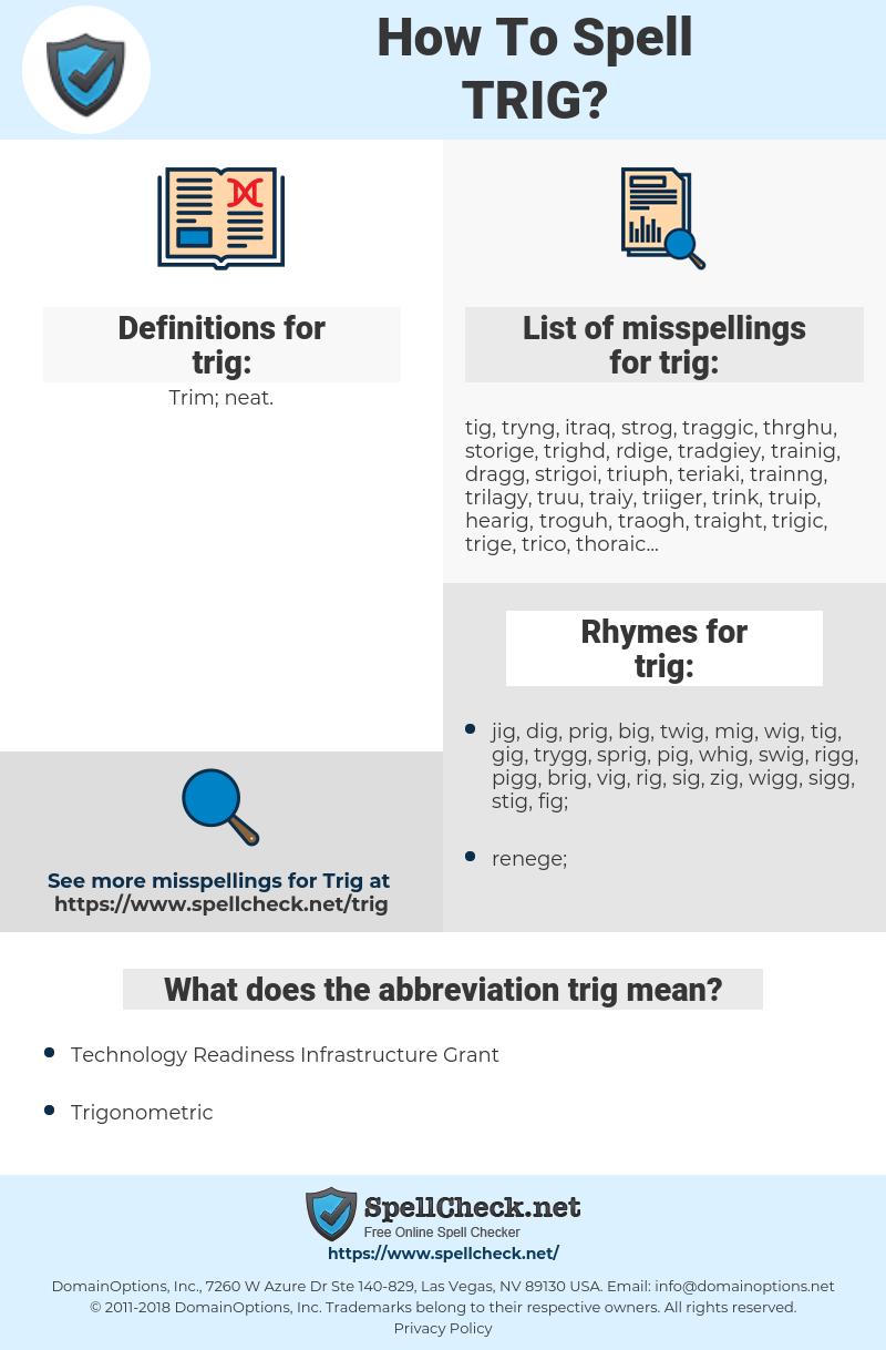 trig, spellcheck trig, how to spell trig, how do you spell trig, correct spelling for trig